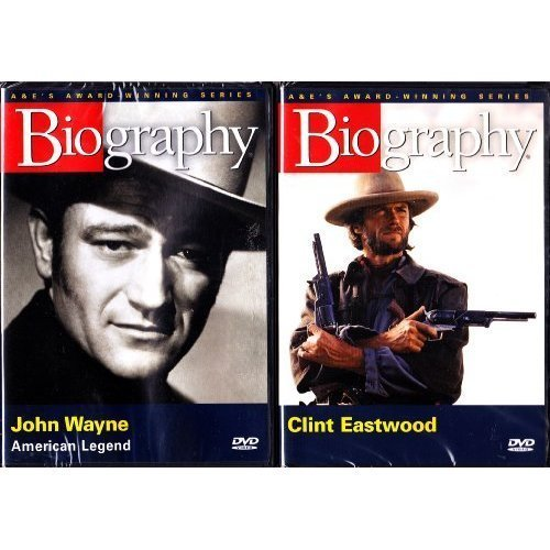 Clint Eastwood Biography and John Wayne Biography : Western Cowboy Legends Biography 2 Pack Box Set DVD Image
