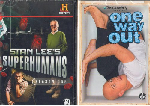 The History Channel : Stan Lee's Superhumans Season One 8 Episodes with 30 People That Have Extraordinary Powers - The Human Calculator , Man Who Feels No Pain , Man of Steel , Human Bee Hive , Rubber Band Man , Super Memory & Many More , the Discovery Channel : One Way Out Season One - 11 Episodes :Buried Alive , Human Catapult , Bee Stung & Many More - Combined Total 4 Discs Approx 10 Hours - 2 Pack Gift Set DVD Image