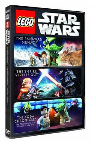 3 Lego Movie Collection DVD Star Wars The Padawan Menace, The Empire Strikes Out and The Yoda Chronicles DVD Image