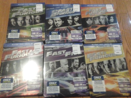 The Fast and the Furious 1 2 3 4 5 6 Collection Blu-ray 6 Set Steelbook Set DVD Image