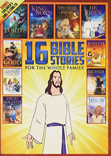 16 New and Old Testament Bible Stories for the Whole Family - Over 7 Hours on 2 DVDs - Includes Bonus Children's Sing-a-long CD (Jesus Cover) DVD Image