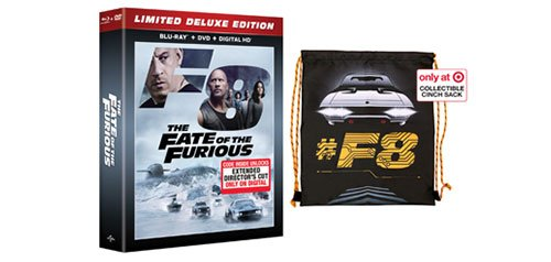 FATE OF THE FURIOUS Blu-ray+DVD+Digital Copy Limited DELUXE Edition Combo Set Includes COLLECTIBLE Cinch Sack DVD Image