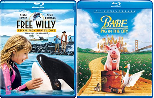 Babe: Pig in the City & Free Willy Escape from Pirate's Cove Blu Ray 2 Movie Combo Family animal kid fun set DVD Image