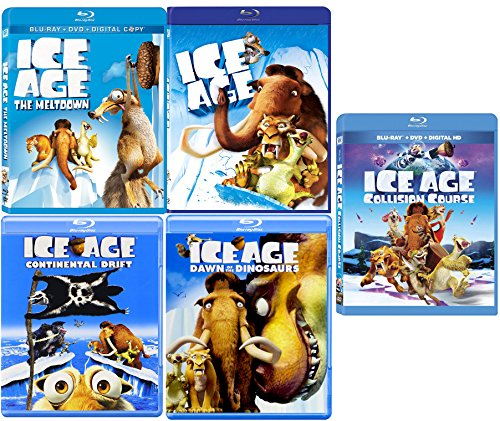 Ice Age Collection 5 Movie Collection Blu Ray Collision Course / The Meltdown / Continental Drift & Dawn of The Dinosaurs Cartoon Set DVD Image