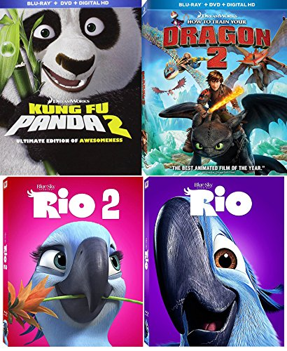 Dreamworks Animation How to Train your Dragon 2 & Kung Fu Panda 2 Sequel Set + Rio Part 1 & 2 Blu Ray Cartoon Fun Movie Bundle Set DVD Image