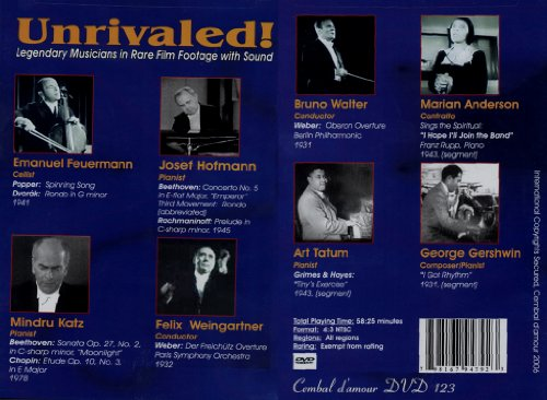 Unrivaled: Legendary Musicians In Rare Film Footage With Sound DVD Image