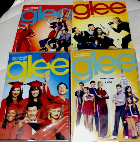 GLEE Seasons 1 2 3 and 4 DVD Sets (First four seasons 1-4) Musical TV Show Jane Lynch, Lea Michele, Matthew Morrison, Cory Monteith DVD Image