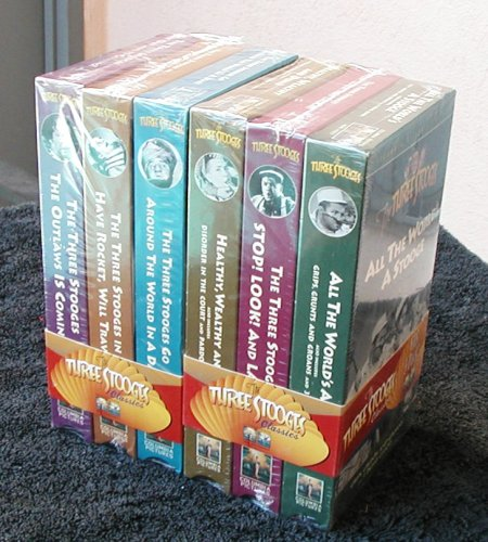 Set of 6 Three Stooges Movies - 3 Stooges Go Around the World in a Daze - Have Rocket, Will Travel - The Outlaws is Coming - All the Worlds a Stooge - Stop! Look! and Laugh - Healthy, Wealthy and Dumb DVD Image